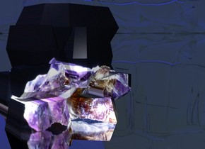[amethyst] crystal. purple light 2 feet above and 1 foot in front of crystal. sun is blue. ground is clear. white light -.8 foot in and 1 inch in front of crystal