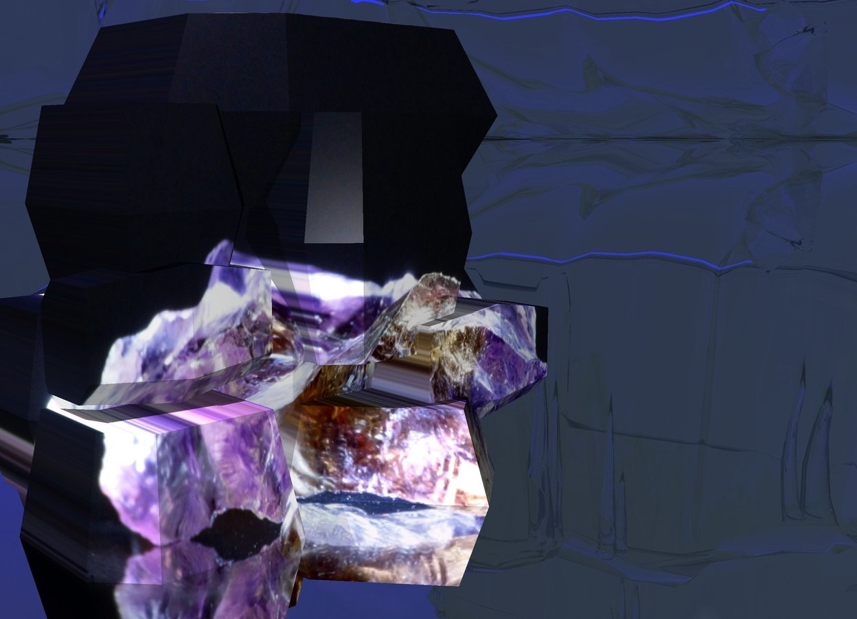 Input text: [amethyst] crystal. purple light 2 feet above and 1 foot in front of crystal. sun is blue. ground is clear. white light -.8 foot in and 1 inch in front of crystal