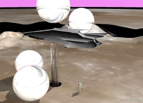 Gradient Spaceship 1 inch above 29 foot tall 5 feet wide 5 feet long Clear tube. Moon ground. 20 foot tall 20 foot wide 20 foot deep Chrome sphere 11 feet in front of clear tube. Second 20 foot tall 20 foot wide 20 foot deep chrome sphere 9 feet right of tube. Third 20 foot tall 20 foot wide 20 foot deep chrome sphere 2 feet above spaceship. Huge Black circle .5 inches under tube. 20 foot tall 20 foot wide 20 foot deep chrome sphere 6 feet left of spaceship. Violet sky. Astronaut 13 feet behind circle facing east.