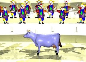 the 25% yellow arena. a cow is in the arena. 5 people are 100 inches to the left of and 10 inches above the cow. they are facing to the cow. 7 clowns are 150 inches to the left of and 30 inches above the cow. they are facing to the cow. the arena is 12% shiny. the 30% yellow light is on the cow. the cow is 35%  blue.