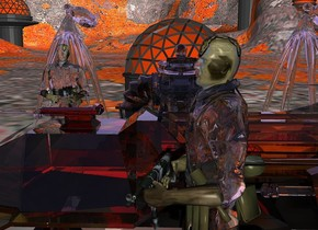 a clear robot.a clear man is -50 inches behind the robot.a clear vehicle is 3 feet right of the robot.the vehicle's wheel is clear.a 1st 6 feet tall clear soldier is right of the vehicle.the soldier is facing west.the robot is facing east.the man is facing east.a 2nd 6 feet tall clear soldier is 1 feet in front of the robot.a 8 feet tall building is 6 feet left of the robot.a 1st clear 9 feet tall octopus is 2 feet behind the building.a 2nd clear 9 feet tall octopus is 1 feet in front of the building.