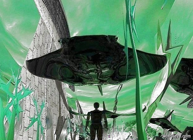 Input text: a 20 feet tall silver plate.the plate is face down.the ground is 300 feet wide.a 10 feet tall ray is in front of the plate.the ray is 40 feet above the ground.the ray is clear.the sky is cloud.the sun is peppermint green.a 30 feet tall clear man is beneath the ray.the man is on the ground.the ground is silver.
