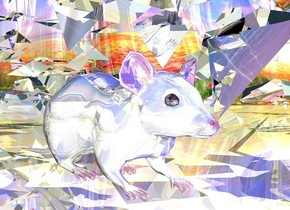a shiny mouse.a silver plant is -5 feet right of the mouse.the mouse is facing north.the ground is [field].the sky is [space].the ground is shiny.a blue light is 2 feet behind the mouse.