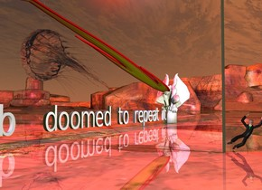 """doomed to repeat it"" is 1 foot in front of the silver wall. it is facing left. the large marble monster is in front of the ""doomed to repeat it"". it is facing back. the fire is -1 feet behind the monster. it is -2.5 feet above the monster. it is leaning 80 degrees to the back. it is 30 feet tall and 2 feet wide.  the enormous clear jellyfish is above and to the left of the ""doomed to repeat it"". it is leaning 80 degrees to the right. the ground is shiny. the tiny man is to the right and behind  the wall. a red light is 2 feet above the fire. a mauve light is 2 feet to the right of the red light. it is dusk."