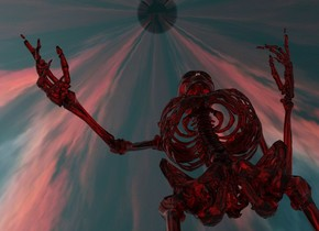 there is a red transparent skeleton. sky is [nnn].