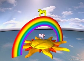 the [sky texture] ground. a very enormous star is 500 feet above the ground. the star is facing up.  a  pink unicorn is 1 feet above the star. a small rainbow is -13 feet above the unicorn. a yellow unicorn is on the rainbow. it is facing left