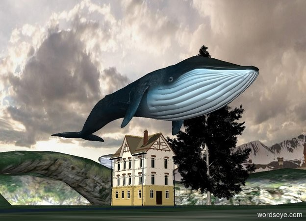 Input text: There is a small house. There is a blue whale above the house. The plants are black.
