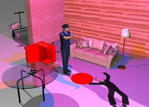 the policeman is 3 feet in front of a couch. he is facing right. the wood wall is 4 feet behind the couch. a large brick wall is to the left of the wall. it is facing right. a steamroller is 4 feet to the left and in front of the brick wall. it is facing right. the large armadillo is on the steamroller. it is facing front. a second flat man is 1 foot to the right of the policeman. he is facing right. he is leaning 90 degrees to the back. a red chair is 2 feet to the left of the policeman. it is facing right. it is leaning 90 degrees to the right. a table is 2 feet in front of the policeman. a extremely tiny red pond is -1 foot to the left of the second man. it is upside down. the lamp is to the right of the couch. a gun is on the table. it is leaning 90 degrees to the right. the red light is 2 feet above the policeman. the blue light is 3 feet to the right of the red light.