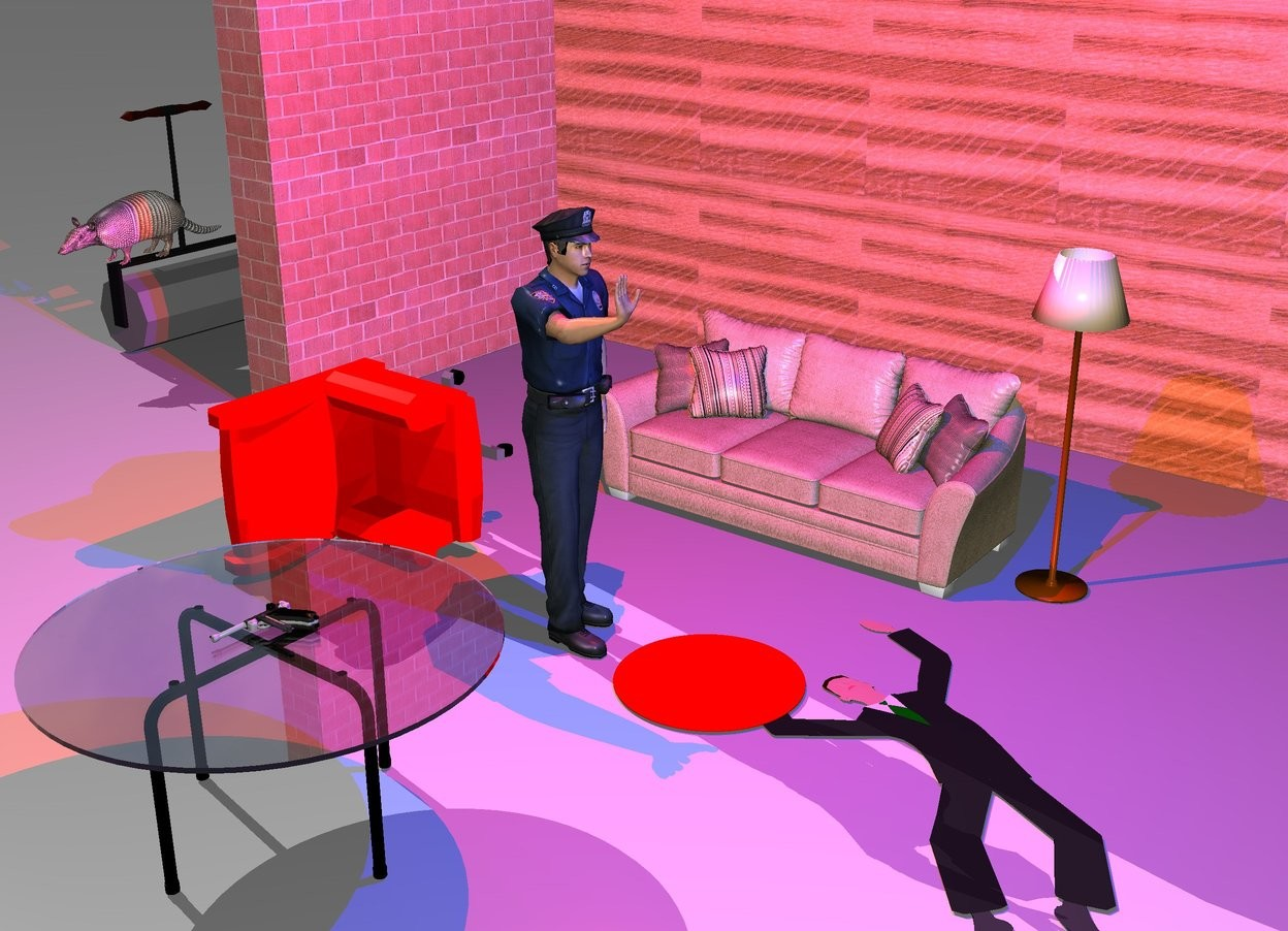 Input text: the policeman is 3 feet in front of a couch. he is facing right. the wood wall is 4 feet behind the couch. a large brick wall is to the left of the wall. it is facing right. a steamroller is 4 feet to the left and in front of the brick wall. it is facing right. the large armadillo is on the steamroller. it is facing front. a second flat man is 1 foot to the right of the policeman. he is facing right. he is leaning 90 degrees to the back. a red chair is 2 feet to the left of the policeman. it is facing right. it is leaning 90 degrees to the right. a table is 2 feet in front of the policeman. a extremely tiny red pond is -1 foot to the left of the second man. it is upside down. the lamp is to the right of the couch. a gun is on the table. it is leaning 90 degrees to the right. the red light is 2 feet above the policeman. the blue light is 3 feet to the right of the red light.