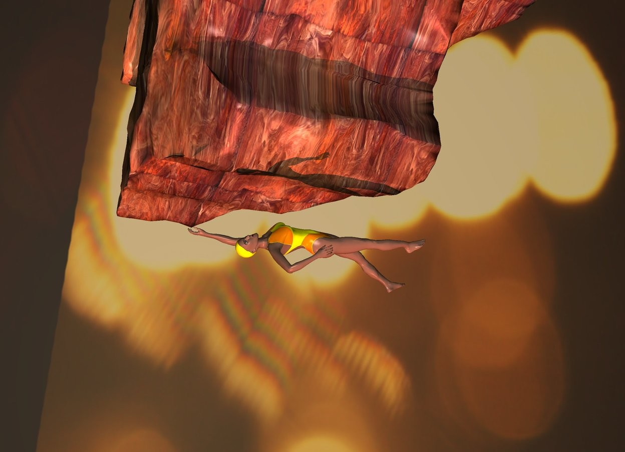 Input text: the woman is 100 feet above ground. she is upside down. 1st [texture] rock 1.2 foot above woman. it is 10 feet tall. sky is [spot]. ground is [lava]. one peach light below rock. it is dusk