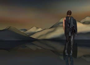 sky is 1000 feet tall.sky is 240000 inch wide [sand].ground is 30000 inch tall [sand].a 300 inch tall woman.the woman is facing north.