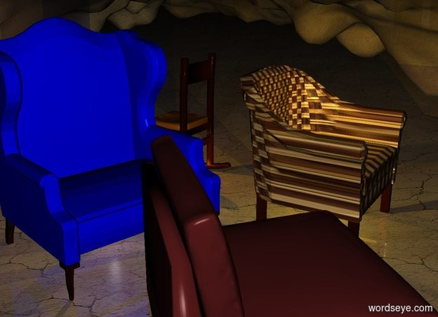 Input text: the ground is [dirt]. a 1st chair. a 2nd chair faces the 1st chair. a 3rd chair faces southwest.  it is in front of the 2nd chair. a 4th chair faces northeast. a baby blue light is beneath the 2nd chair. it is night. a yellow light is beneath the 3rd chair. a orange light is beneath the 4th chair. a gold light is -1 foot above the 3rd chair.