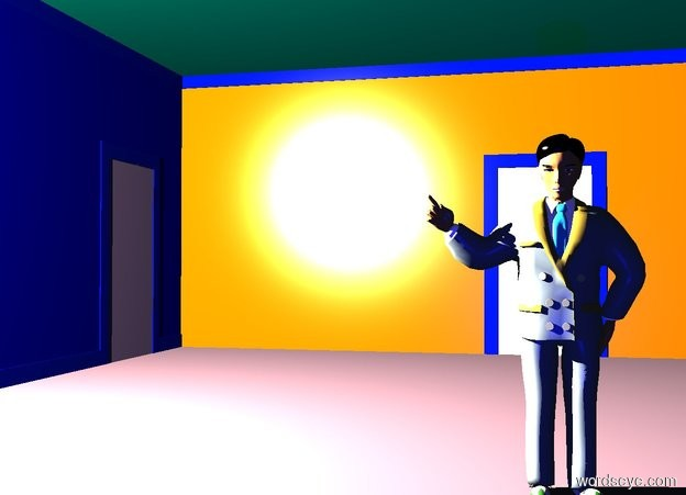 Input text: a dark room. a 2.8 foot tall person is -5.9 feet above the room. he faces right. 12 huge baby blue lights are 5 feet in front of and 8 feet to the left of the person. 12 pink lights are 5 feet in front of and 1 feet above and .5 feet to the right of the person. the camera light is black.  a blue light is 5 feet to the right of the person.