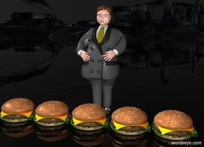 a 120 inch tall man.sky is black.ground is clear.five 20 inch tall hamburgers are in front of the man.