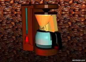 a 100 inch tall mocha brown coffee maker is 170 inch above the ground..sky is 1500 feet tall.sky is 2500 inch wide [coffee].ground is clear.a red light is in front of the coffee maker.