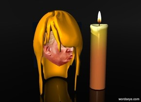 a 50 inch tall and 60 inch deep and 30 inch wide orange  head of hair.a 30 inch tall head is -35 inch above the head of hair.sky is black.ground is clear.a 50 inch tall candle is 5 inch right of the head of hair.
