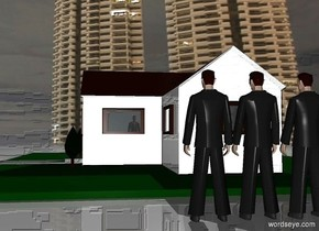 a gigantic dull house. sky is 5000 feet tall [night]. 3 gigantic businessmen are 100 feet to the right of the house. they face the house. ground is dull. a silver light is above and to the left of the businessmen. a gigantic white wall is 350 feet to the right of the businessmen. it faces right.