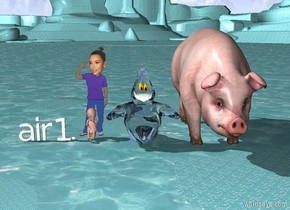 ghost eating an egg next to Kim kardashian. the ground is water. Kim Kardashian is not staring at the ghost. She has one had up in the air. She is beside a huge pig. in front of Kim Kardashian is a huge fetus