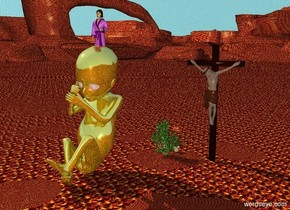 a 12 feet tall man is standing 4 feet northeast of a gold fetus that is 12 feet tall. the ground is lava. the sky is water. flowers are 5 inches west of the man. a 4 feet tall mother stands on top of the gold fetus.