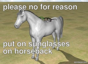 ground is grass. white horse. There are large sunglasses on horse