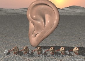gigantic ear. 10 rats in front of ear. ground is carpet.