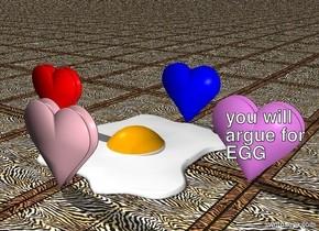gigantic egg. 1 big blue heart behind egg. 1 big pink heart in front of egg. 1 big red heart to left of egg. 1 big violet heart to right of egg. ground is rug.