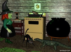 a cooker.a pan is -6 inches above the cooker.a 9 inch tall frog is -6 inches above the pan.the frog is facing left.a flat wall is behind the cooker.a witch is in front of the cooker.the witch is left of the cooker.the witch is facing northeast.a black cauldron is 3 inches right of the cooker.the cauldron is in front of the wall.a cat is right of the witch.a a table is left of the cooker.a hourglass is on the table.the wall is wood.the ground is dirt.the dirt is 55 inches tall.a apple pie is -4 inches above the cauldron.a lizard is in front of the cauldron.the lizard is facing left.the cat is facing southeast.the frog is facing the witch.a green light is above the frog.it is night.a picture is 12 inches above the cauldron.the picture is in front of the wall.