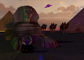 A 20% dark texture Giza. Camera light is red. A blue light is above the Giza. A small dark camel is -200 feet behind the Giza. It is 3 feet above the ground. 2 orange lights are 20 feet in front of the camel. A ball is 17 feet left of and 20 feet in front of the camel. A red light is 10 feet in front of the camel. A light is behind the ball. A lime light is 2 feet left of the light. A blue light is right of the ball. A small dark camel is left of and behind the camel. A small dark camel is left of and behind the camel. A small dark camel is left of and behind the camel. A small dark camel is left of and behind the camel. A small dark camel is left of and behind the camel. A tiny spaceship is 10 feet above and 10 feet right of the camel. It is leaning 20 degrees to the right.