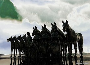 there are four 8 feet tall clear black statues.the ground is shiny black.the sky is [mountain].there are four 5 feet tall clear black dogs.they are 1 feet in front of the statues.there are 4 11 feet tall clear black horses 1 feet behind the statues.the sun is 45% green.