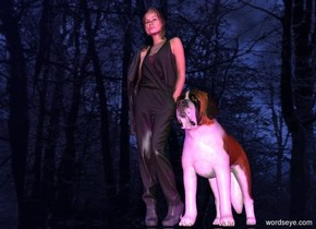 the sky is [image-11719].the [image-11719] is 5000 feet tall.a woman.silver ground.three purple lights are 3 feet in front of the woman.the sun is midnight blue.four purple lights are 3 feet right of the woman.a dog is right of the woman.