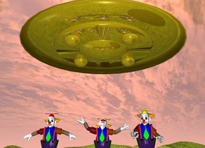 a gold ufo is 12 feet above the ground. the ground is grass. the 1st man is -18 feet above the ufo. the 2nd man is to the left of the 1st man. the 3rd man is to the right of the 1st man