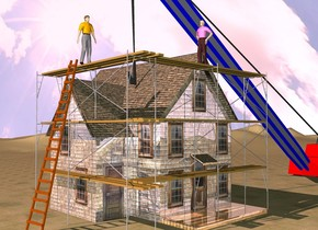 a shiny house.a 20 feet tall scaffold is -22 feet in front of the house.a ladder is left of the scaffold.the ladder is facing the scaffold.a 1st man is -6 inches above the ladder.the 1st man is right of the ladder.a red construction crane is -14 feet right of the house.the construction crane is facing the house.the ground is grass.the grass is 24 inches tall.a 2nd man is 6 feet in front of the 1st man.the 2nd man is 10 feet right of the 1st man.the 2nd man is facing left.the sky is leaning 50 degrees to the south.the sun is pink.