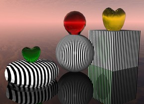 1st cube is on ground. it is [stripe]. it is 2 feet tall and 2 feet wide. 1st large clear yellow balloon is 33 inch in 1st cube. 1st sphere is 8 inches left of 1st cube. it is 1.9 feet tall. it is [stripe]. 2nd clear red balloon is 23 inch in 1st sphere. ground is clear. 1st souffle is 1 inches left of 1st sphere. it is 2.3 feet wide. it is 8 inches in ground. it is [stripe]. 3rd minuscule  clear green balloon is 16 inch in 1st souffle. 1st lime green light is 7 inch in 3rd balloon