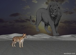 ground is  [pavement].it is night.ambient light is gray.sky is [pavement].a 100 inch tall cat is on  the ground..the cat is facing southeast.a 300 inch tall 30% dim  gray lion is in the sky.the lion is 80 inch above the ground.the lion is facing north.