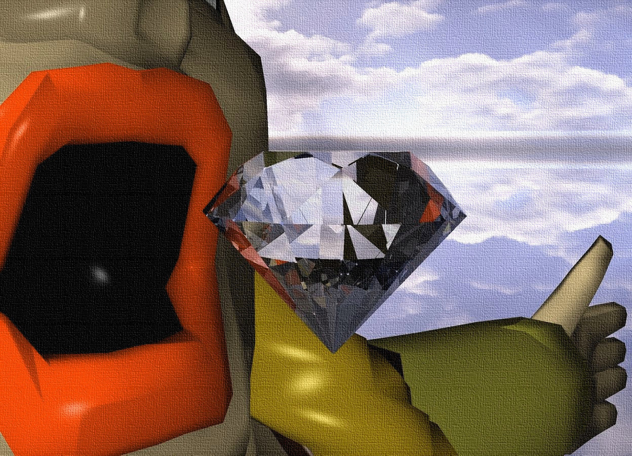 Input text:  the woman. the big diamond is -12 inches above and -6 inches in front of the woman. the ground is silver.