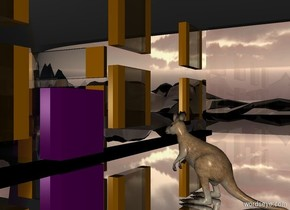 a 30 feet tall clear house.the house is 100 feet deep.the house is 60 feet wide.the house is flower.a kangaroo is -25 feet right of the house.the ground is 120 feet tall.the ground is shiny black.