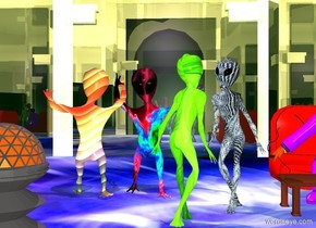 a 1st 10 foot tall alien is on a huge [dance] floor. he is 10 foot tall [glowcloud].a 2nd 10 foot tall alien faces back. he is 1 foot tall [pattern]. he is -1 foot to the left of the 1st alien. he faces back. a 3rd 10 foot tall alien is in front of and -1 foot to the right of the 1st alien. he faces southwest. he is 1 foot tall [grid]. a 4th 10 foot tall alien is -2 foot to the left of and -2 foot in front of the 3rd alien. he faces northeast. he is 10 foot tall [abstract]. a enormous shiny building is -40 feet above the aliens. ambient light is seashell. a huge lavender light is 10 feet above the aliens. a large yakuza is 5 feet to the right of the 1st alien.  a 6 foot tall building is 10 feet in front of the 2nd alien.