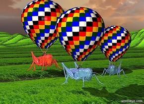 a 1st 80 inch tall hot air balloon. the ground..a 1st 30 inch tall shiny delft blue grasshopper is -100 inch above the hot air balloon.ground is 30 feet tall.ground is 100 inch wide [grass].a 2nd 60 inch tall hot air balloon is right of the 1st hot air balloon.a 2nd 25 inch tall shiny delft blue grasshopper is -75 inch above the 2nd hot air balloon.the 2nd grasshopper is facing southwest.a 3rd 120 inch tall hot air balloon is 80 inch behind the 1st hot air balloon.a 3rd 45 inch tall shiny chili red grasshopper is -150 inch above the 3rd hot air balloon.