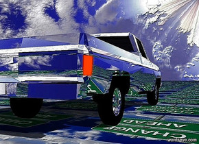 a silver chevrolet pickup truck.ground is 80 inch wide  [road].sky is 2000 feet tall.sky leans 110 degrees to north.the wheel rim of the pickup is silver.