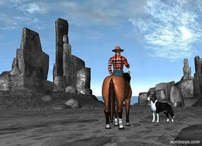 ground is 10000 feet wide.ground is 300 feet tall.a 60 inch tall horse is 50 inch above the ground.the horse is facing east.ground is clear gray.a 60 inch tall cowboy is -40 inch above the horse.the cowboy is facing east.the shirt of the cowboy is 35 inch wide [texture].a 34 inch tall dog is 9 inch right of the horse.the dog is facing northwest.the dog is 5 inch in front of the horse.