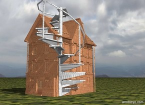 a 300 inch tall [brick] house.ground is grass.a 300 inch tall  gray stair is -120 inch behind the house.the stair is -100 inch left of the house.the stair is 20 inch wide [steel].