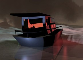 a 500 inch tall boat.ground is 8000 feet wide.camera light is black.the boat is -50 inch above the ground.ground is shiny.ambient light is black.six 60% dim fire orange lights are -200 inch above the boat.six night blue lights are 150 inch above the boat.four 60% dim night blue lights are  in front of the boat.the night blue lights are -330 inch above the boat.six 30% dim maroon lights are 100 inch right of the boat.the maroon lights are -300 inch above the boat.four 20% dim cyan lights are 150 inch left of the boat.the cyan lights are -400 inch above the boat.it is dusk.sky is 2000 feet tall.sky leans 20 degrees to north.