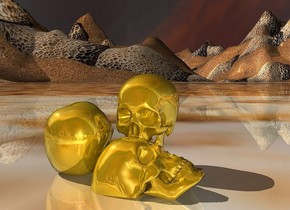 ground is 100 feet tall and 2000 feet wide.ground is 1500 inch wide [sand].sky is 3000 feet tall.sky leans 60 degrees to north.a 1st face down  gold skull.a 2nd face up gold skull is -1 inch right of the 1st skull.the 2nd skull leans 20 degrees to the front.the 1st skull is -1 inch above the ground.a 3rd gold skull is -1 inch  right of the 1st skull.the 3rd skull is facing south.the 2nd skull is facing east.
