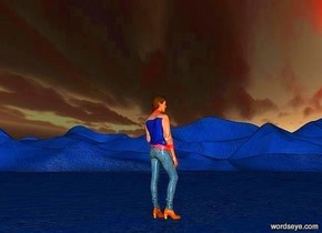 a 1st 1000 feet tall sky.a 2nd 1000 feet wide sky is in front of  the 1st sky.ground is 50 feet tall.ground is delft blue.ambient light is gray.a 100 inch tall woman is on the ground.the woman is facing northeast.