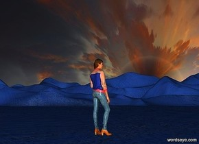 a 1st 1000 feet tall sky.a 2nd 2000 feet tall sky is in front of  the 1st sky.ground is 50 feet tall.ground is delft blue.ambient light is gray.a 100 inch tall woman is on the ground.the woman is facing northeast.the 2nd sky leans 90 degrees to south.