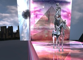 The ground is shiny texture. It is 12 feet wide. A silver statue is on a silver horse. There is a city in the background. The background is dark. It is leaning forward. A very tall flat silver wall is behind the horse. It is leaning 50 degrees to the front. An enormous silver wall is 4 feet right of the horse. It is facing east. Camera light is cream. The sun is silver. A cream light is 5 feet left of and above and behind the horse.