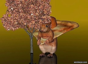 a 10 inch tall squirrel.a 1.5 inch tall pizza  is -6.5 inch above the squirrel.the pizza leans 20 degrees to the front.sky is gold.ground is clear.a 20 inch tall tree is -4 inch left of the squirrel.the tree is 100 inch wide [pizza].