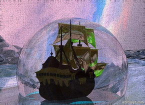 a 100 feet tall river.a ship is -96 feet above the river.the ship is facing left.the river is shiny.the sky is leaning 75 degrees to the south.the ship's sail is gold.the sun is pink.a 80 feet tall clear sphere is -70 feet above the ship.clear ground.a aqua light is above the ship.