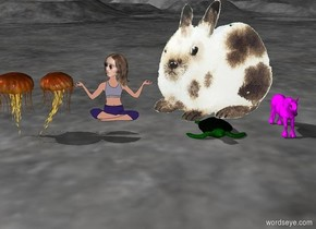 huge rabbit on the huge turtle. near the rabbit is lennon. under the lennon is small purple unicorn. huge jellyfish at the right side of the turtle