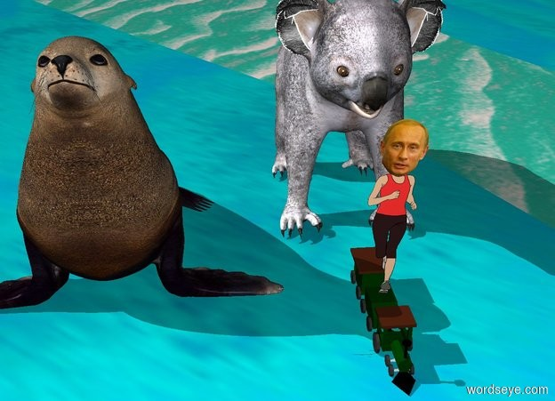 Input text: putin lying on the huge train. behind the train is huge bear. under the bear is big seal